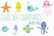 8 hand drawn cute sea creatures