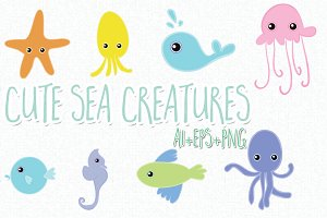 8 hand drawn cute sea creatures