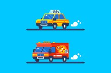 Taxi and Pizza Delivery Cars