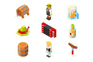Oktoberfest isometric icons set