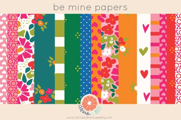 Valentine Hearts Digital Papers