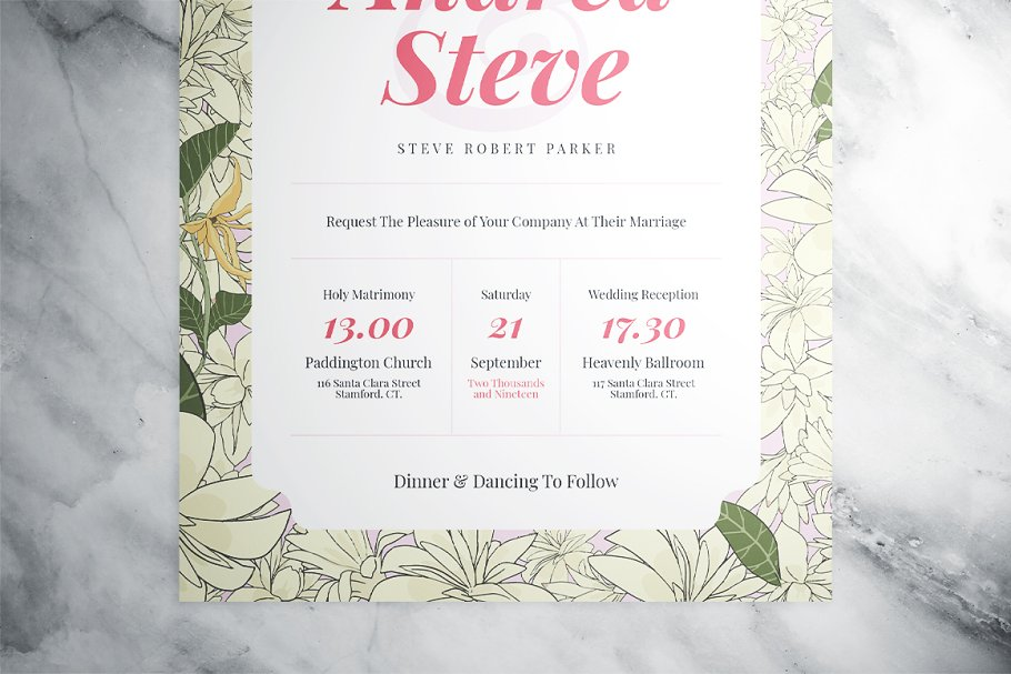 Flower Wedding Suite in Wedding Templates - product preview 3