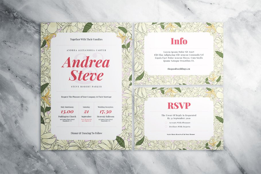 Flower Wedding Suite in Wedding Templates - product preview 6
