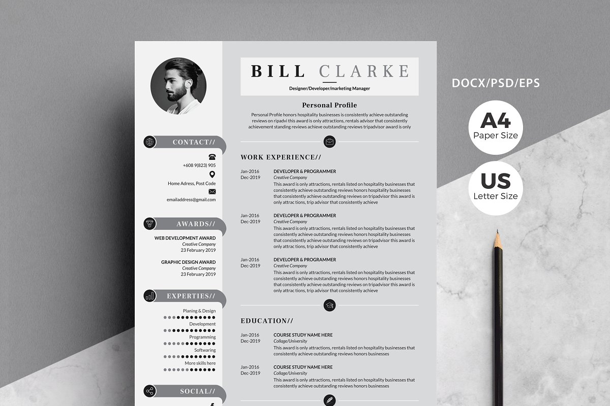Modern Resume/Cv with Cover Letter ~ Resume Templates ~ Creative Market