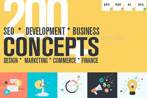 Flat Design Business Concepts Pack