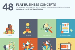Set of Flat Design Business Concepts