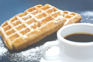 Waffles with coffee