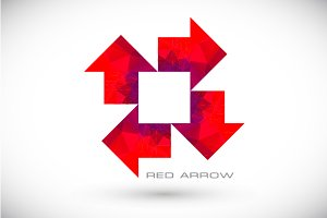 Red polygonal arrow