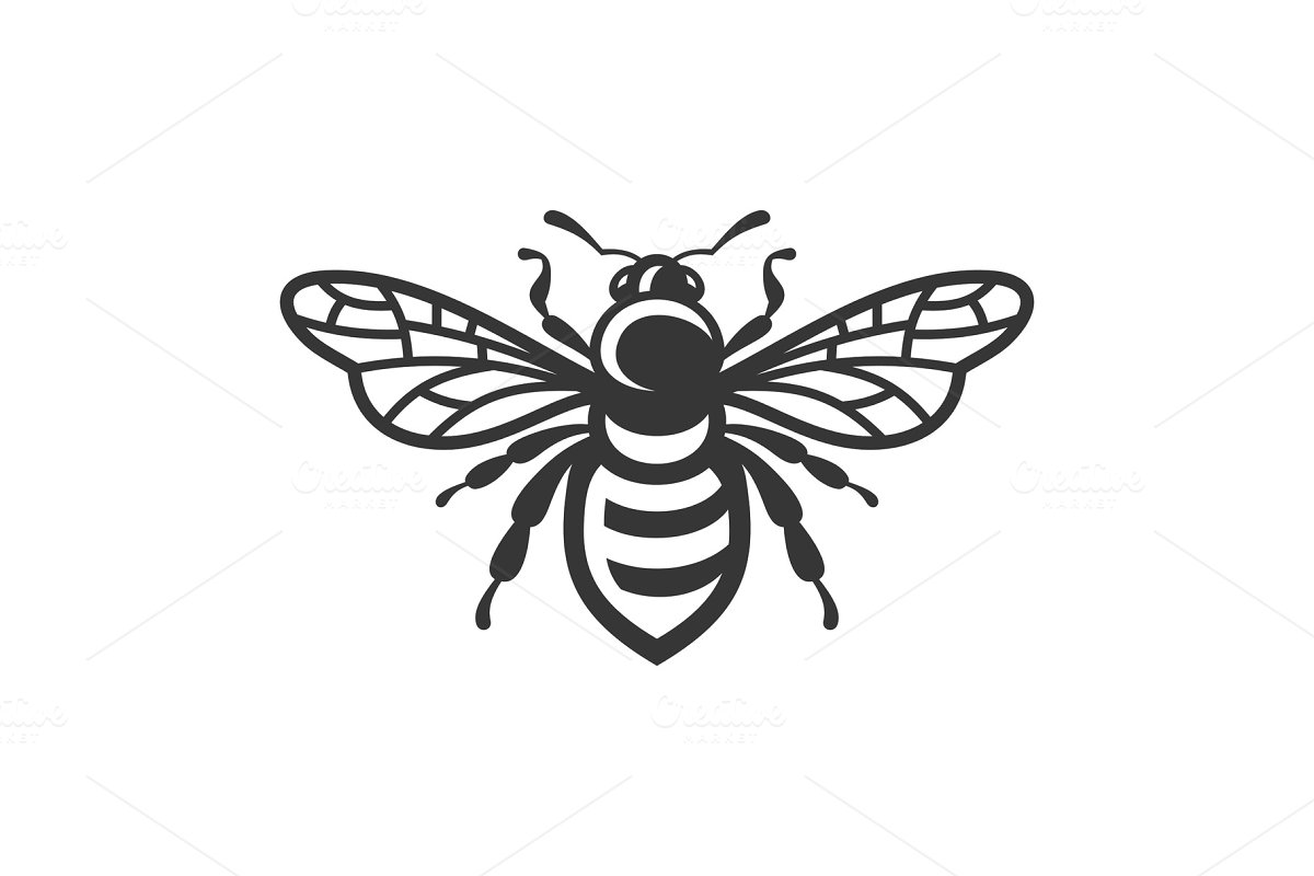 Bee Icon. Bug Logo on White