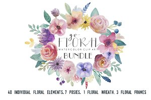 Go Floral! watercolor clip art set