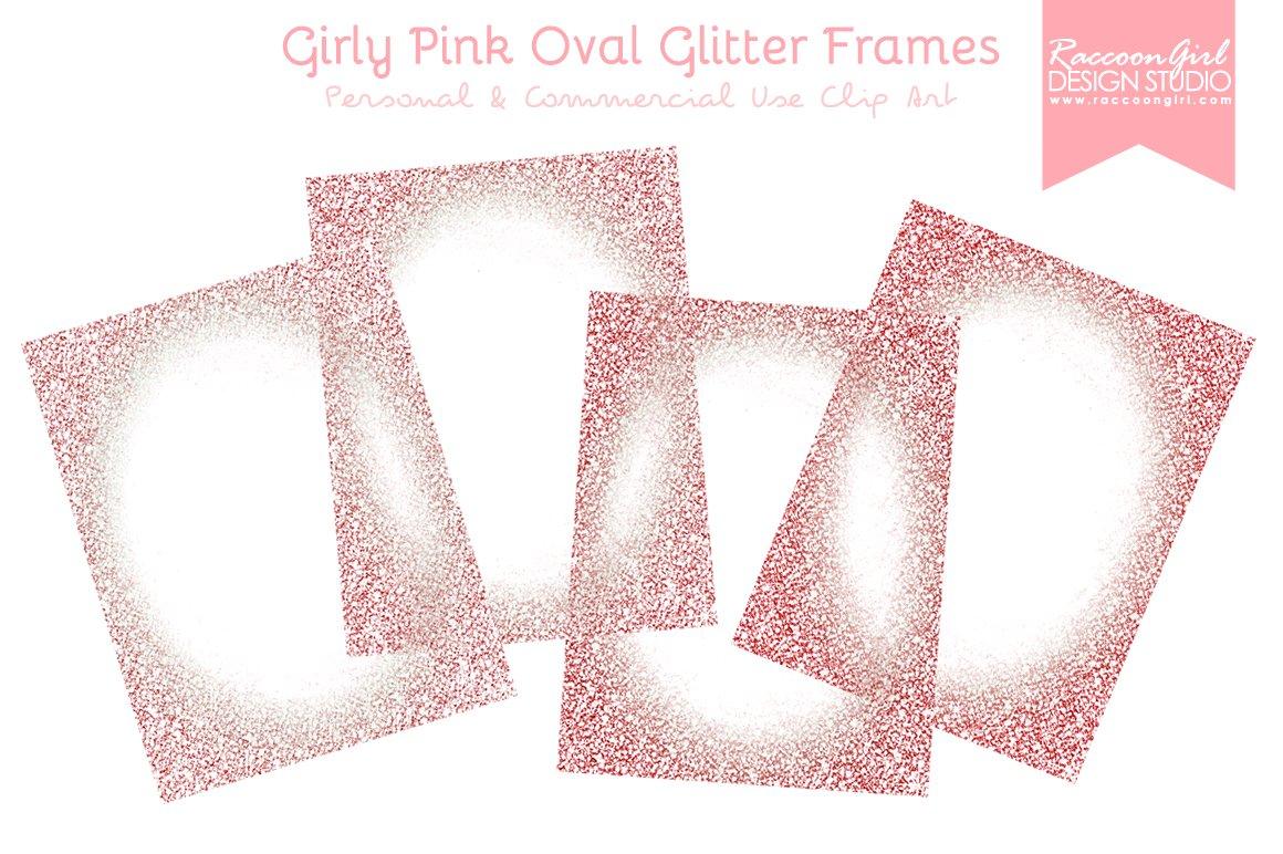 Girly Pink Oval Glittery Frames ~ Illustrations ~ Creative Market
