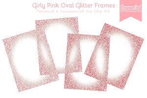 Girly Pink Oval Glittery Frames