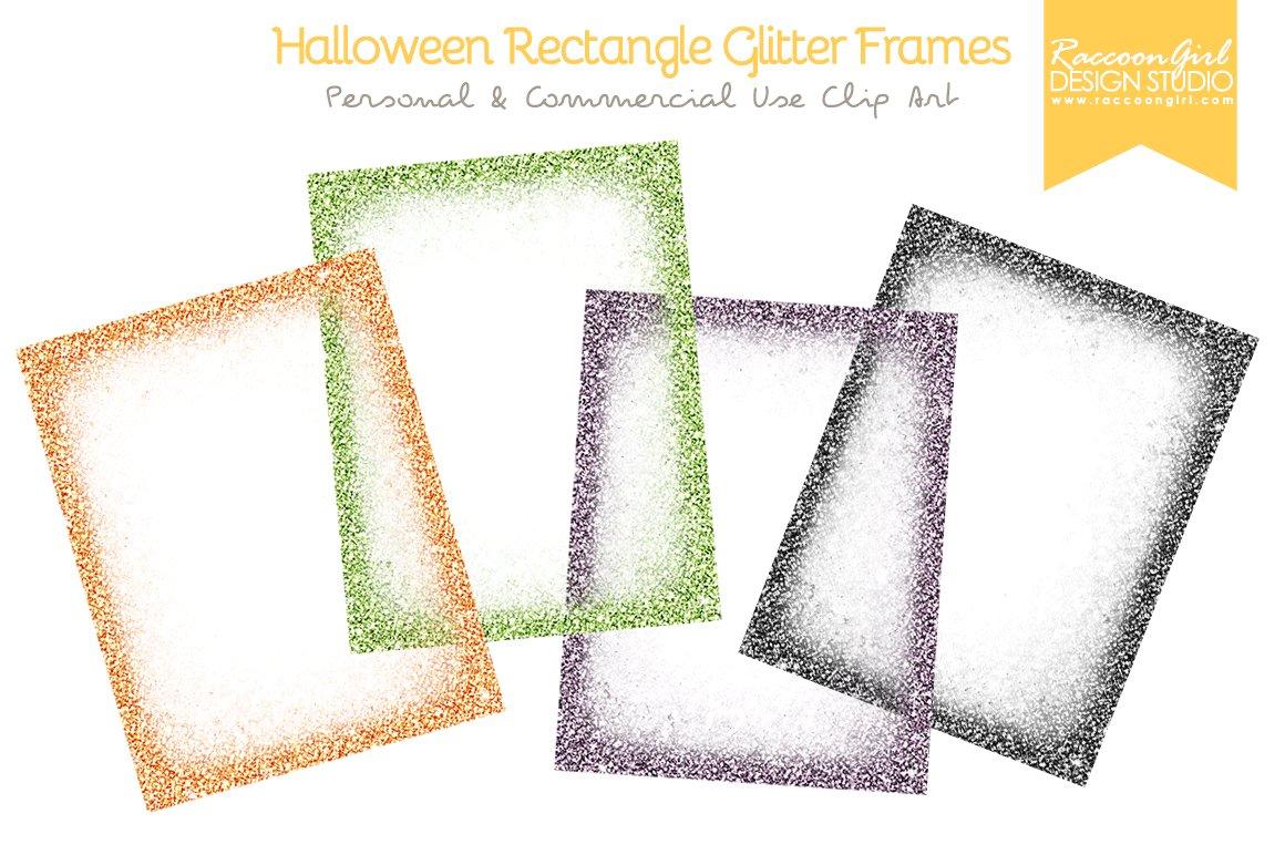 Halloween Rectangle Glittery Frames Textures Creative