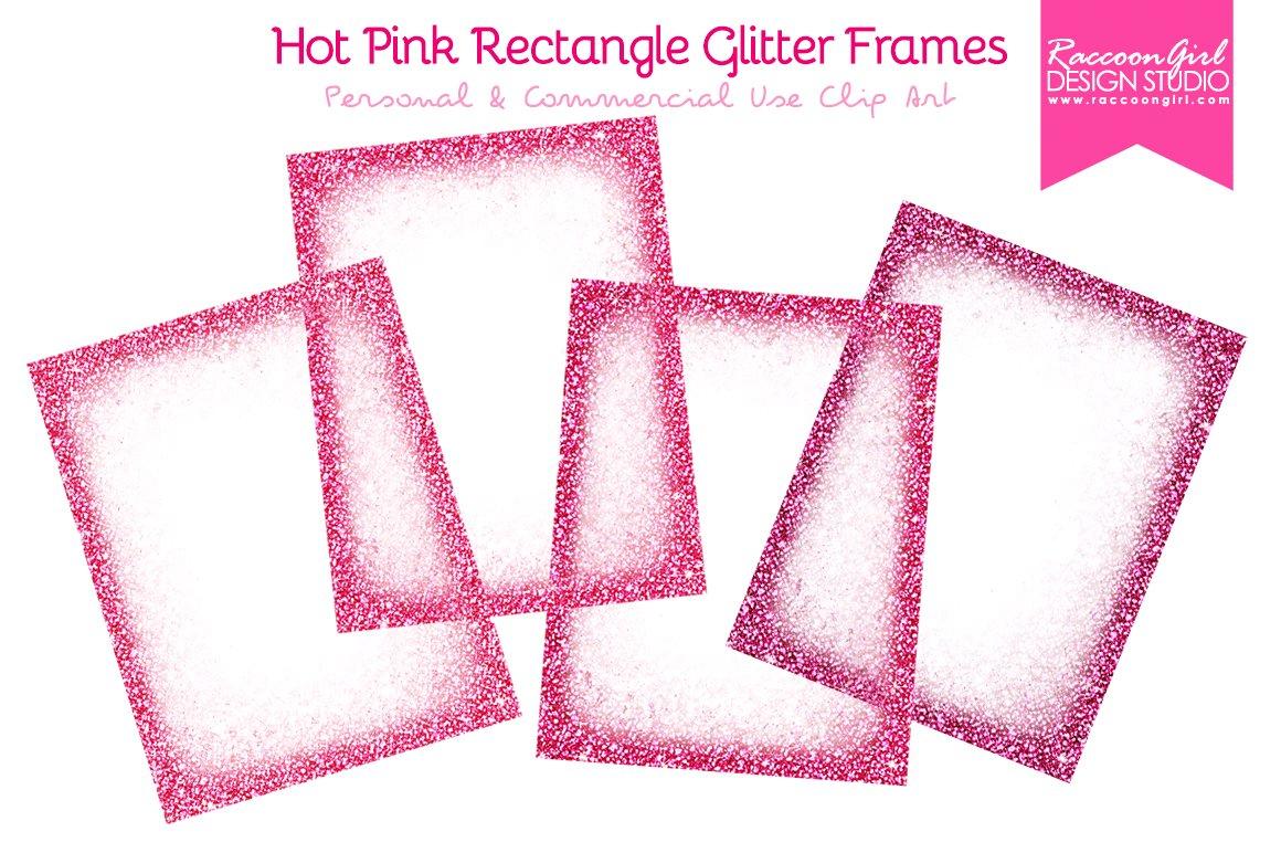 Hot Pink Rectangle Glitter Frames