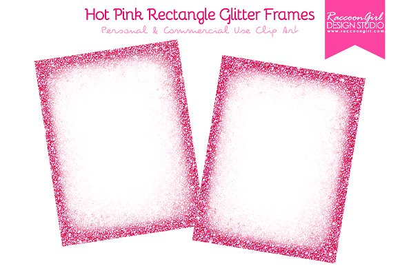 Hot Pink Rectangle Glitter Frames ~ Illustrations ~ Creative Market