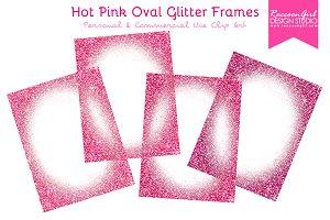 Hot Pink Oval Glitter Frames