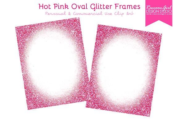 Hot Pink Oval Glitter Frames ~ Illustrations ~ Creative Market