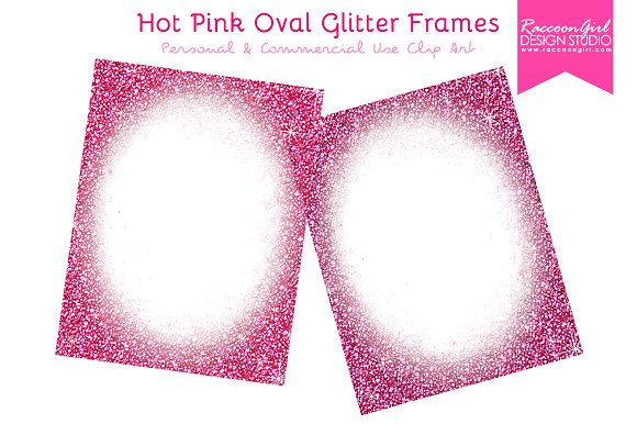 Hot Pink Oval Glitter Frames ~ Illustrations ~ Creative Market