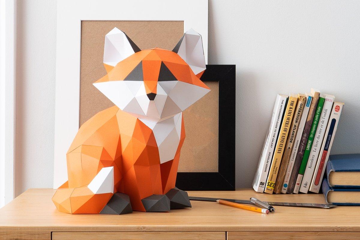 Baby Fox 3d papercraft template