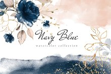 Navy Blue. Watercolor collection