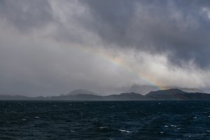 Rainbow over Coastline in Norway