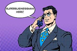 Super businessman hero talking phone