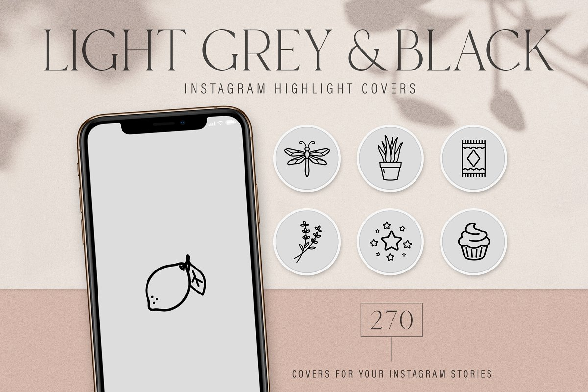 GreyBlack Instagram Highlight Covers in Instagram Templates - product preview 8