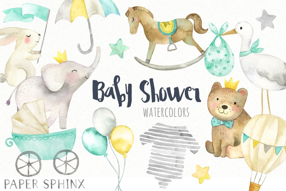 Watercolor Baby Shower Clipart Illustrations Creative Market