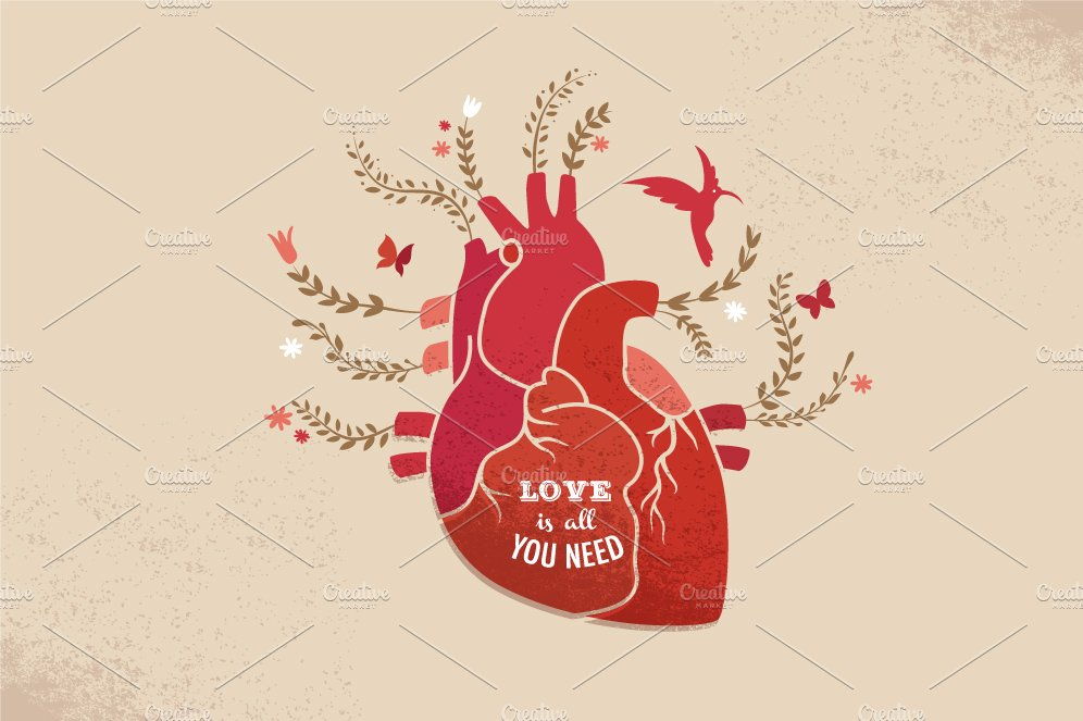 love background with heart flowers illustrations creative market