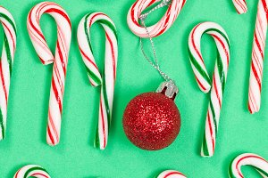 Red Ornament with Candy Canes
