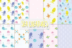 sea creatures digital paper