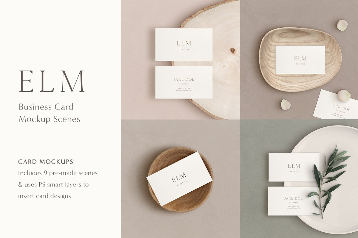 Elm - Business Card Mockup Kit in Templates - product preview 15