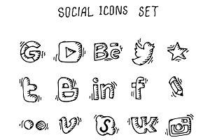 Doodle social icon set. Vector. EPS