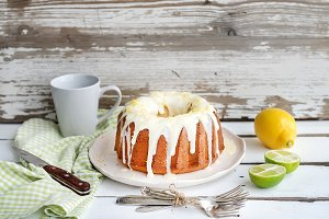 Moist lime & lemon bundt yogurt cake