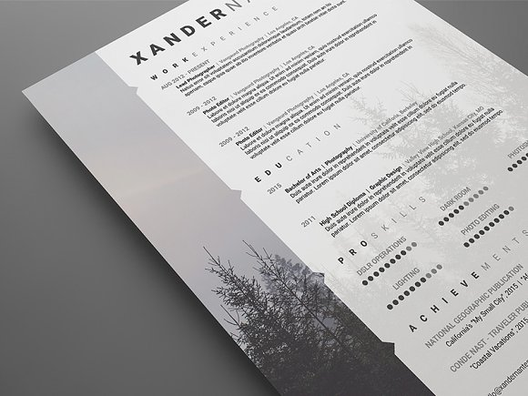 photographer resume psd template resume templates creative market