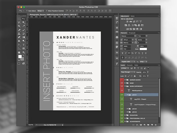 photographer resume psd template resume templates creative market - Photographer Resume