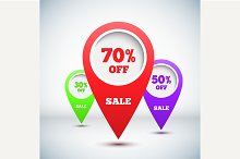 Set of 3D Colorful Map Markers