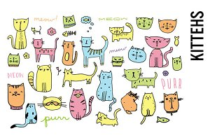 Cat Doodle Illustration Clipart