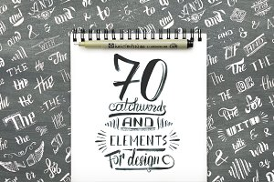 Handlettered catchwords and elements