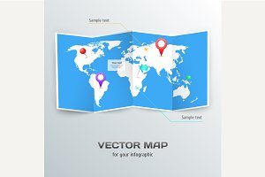 Vector world map with infographic