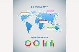 3D world map infographics