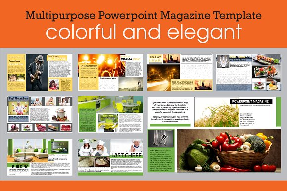 Powerpoint Magazine Template Presentation Templates Creative Market