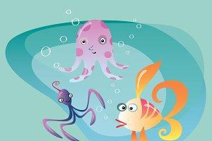 Underwater ocean life cuttlefish