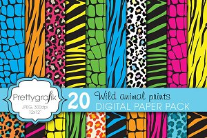 wild animal print digital paper