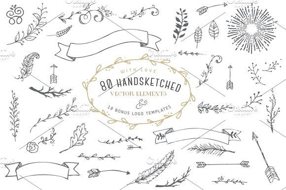 hand drawn elements logos graphics creative market