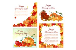 4 Thanksgiving Day Greeting Cards