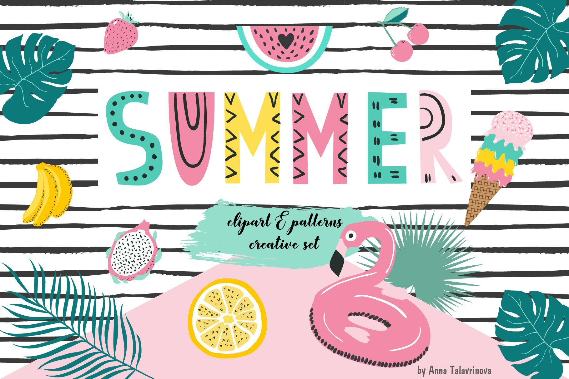 Summer clipart and patterns | Pre-Designed Photoshop ...
