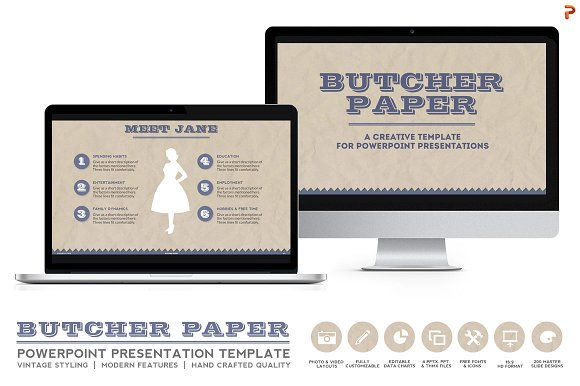 butcher paper powerpoint template presentation templates