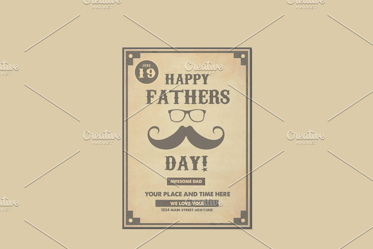 Father's Day Retro Poster Template