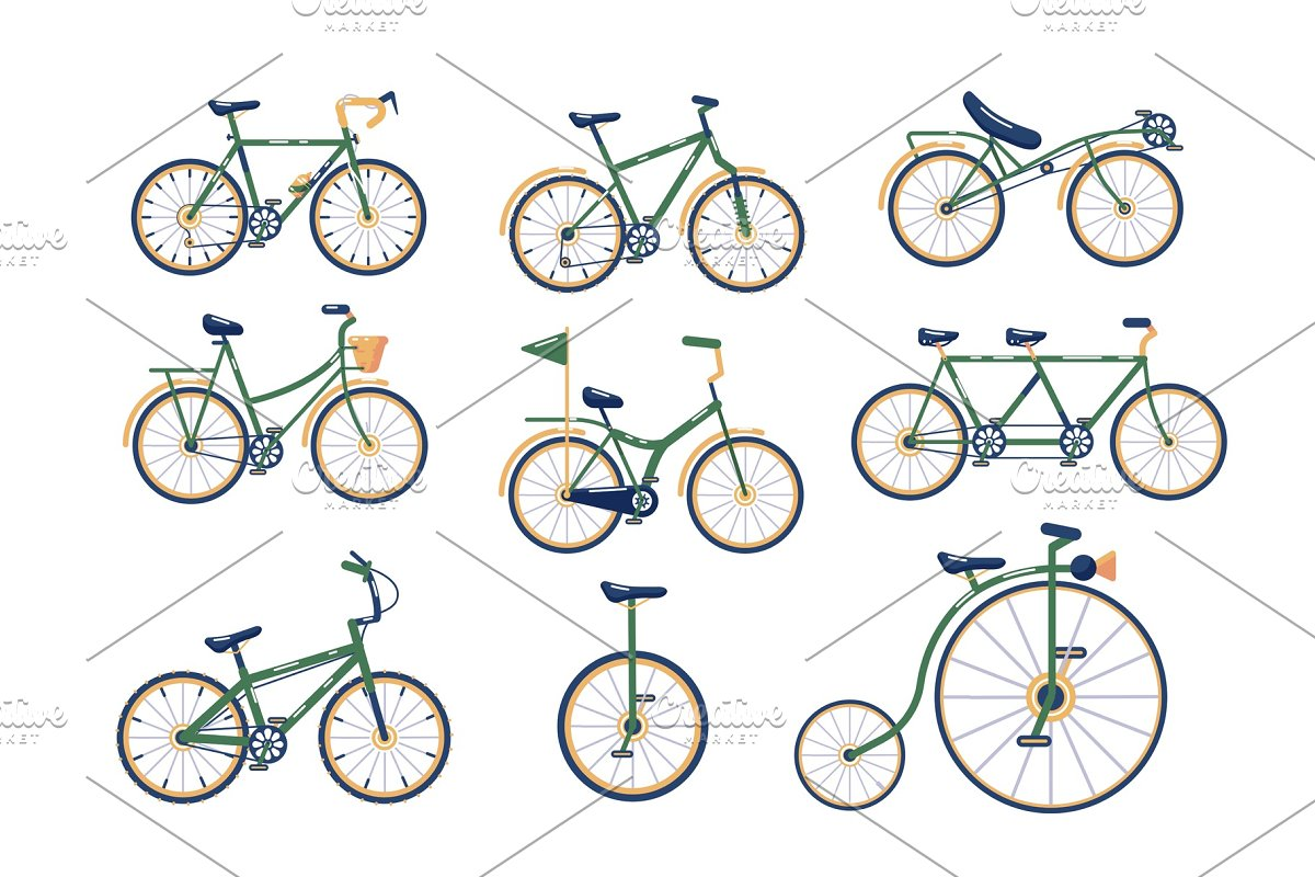 Types Of Bicycles >> Different Types Of Bicycles Set Illustrations Creative Market